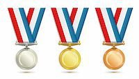 Set of gold, silver and bronze medals with ribbon over white background Stock Photo - Royalty-Freenull, Code: 400-05386592