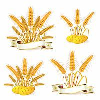 Wheat ears with ribbon and bread Stock Photo - Royalty-Freenull, Code: 400-05386609