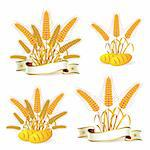 Wheat ears with ribbon and bread Stock Photo - Royalty-Free, Artist: Merlinul                      , Code: 400-05386609