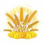 Wheat ears with bread Stock Photo - Royalty-Free, Artist: Merlinul                      , Code: 400-05386610