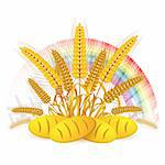 Wheat ears with bread and rainbow Stock Photo - Royalty-Free, Artist: Merlinul                      , Code: 400-05386611