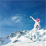 woman skier, Alps Mountains, Savoie, France Stock Photo - Royalty-Free, Artist: phbcz                         , Code: 400-05387073