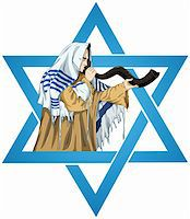 A vector illustration of a Rabbi with Talit blows the shofar with the star of David for the Jewish holiday Yom Kippur. Stock Photo - Royalty-Freenull, Code: 400-05387519
