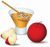 A vector illustration of a glass filled with honey and a special honey serving spoon and an apple and two slices of apple. Stock Photo - Royalty-Freenull, Code: 400-05387520