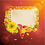 Autumn vintage bubble with colorful leaves and place for text. Vector illustration. Stock Photo - Royalty-Free, Artist: avian                         , Code: 400-05387799