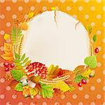 Autumn vintage greeting card with colorful leaves and place for text. Vector illustration. Stock Photo - Royalty-Free, Artist: avian                         , Code: 400-05387825