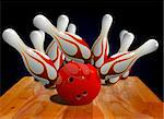 Bowling strike on pin Stock Photo - Royalty-Free, Artist: razihusin                     , Code: 400-05388371