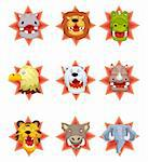 cartoon angry animal head icons Stock Photo - Royalty-Free, Artist: notkoo2008                    , Code: 400-05388629