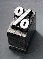 percentage symbol - % Letterpress type Stock Photo - Premium Royalty-Freenull, Code: 6106-05395762