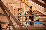 Hispanic carpenters bringing sheathing to roof at a house under construction Stock Photo - Premium Royalty-Freenull, Code: 6105-05396163