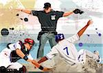 Baseball player safe at home plate Stock Photo - Premium Royalty-Free, Artist: Cusp and Flirt, Code: 6106-05408450