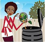 Woman putting food waste in compost bin Stock Photo - Premium Royalty-Free, Artist: Mark Downey, Code: 6106-05418345