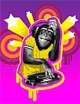 Chimpanzee DJ Stock Photo - Premium Royalty-Free, Artist: David Muir, Code: 6106-05419598