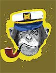 Chimpanzee wearing captain's hat, smoking pipe Stock Photo - Premium Royalty-Free, Artist: Multi-bits, Code: 6106-05419604
