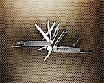 Overhead view of pocket knife tool Stock Photo - Premium Royalty-Free, Artist: Mike Randolph, Code: 6106-05420371