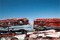 Stacked crushed cars being recycled. Stock Photo - Premium Royalty-Freenull, Code: 6106-05423617
