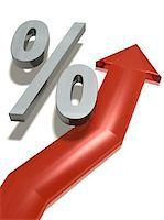percentage symbol - Red upward arrow with percent symbol Stock Photo - Premium Royalty-Freenull, Code: 6106-05425720