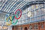 Olympic Rings Hanging in St. Pancras Eurostar Terminal, Camden, London, England Stock Photo - Premium Rights-Managed, Artist: Matt Brasier, Code: 700-05452082