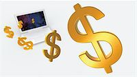 Dollar Signs and Laptop Computer Stock Photo - Premium Rights-Managednull, Code: 700-05452102