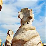 Close-Up of Espanta Bruixes, Casa Mila, Barcelona, Spain Stock Photo - Premium Rights-Managed, Artist: Tim Hurst, Code: 700-05452124