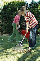 preteen thong - Twins (10-12) in garden, boy racking leaves, girl with wheelbarrow Stock Photo - Premium Royalty-Freenull, Code: 6106-05454795