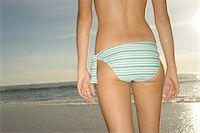 Teenage girl (16-18) wearing bikini, at beach, mid section, rear view Stock Photo - Premium Royalty-Freenull, Code: 6106-05457634
