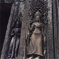 Female Carving on Temple Wall Stock Photo - Premium Royalty-Freenull, Code: 6106-05469567