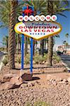 Colorful sign reads ?Welcome to Fabulous Las Vegas, Nevada? in daytime with blue sky Stock Photo - Premium Royalty-Freenull, Code: 6106-05471612