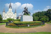 Andrew Jackson Statue & St. Louis Cathedral, Jackson Square in New Orleans, Louisiana Stock Photo - Premium Royalty-Freenull, Code: 6106-05471664