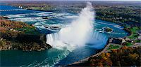 This is an aerial view of the Horseshoe Falls. It is the view from Skylon Tower in Canada. Stock Photo - Premium Royalty-Freenull, Code: 6106-05472547