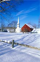small town snow - Church in Peacham, VT in snow in winter Stock Photo - Premium Royalty-Freenull, Code: 6106-05473178