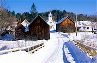 small town snow - Methodist Church in Waits River, VT in winter snow Stock Photo - Premium Royalty-Freenull, Code: 6106-05473179