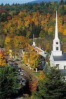 View of Stowe, VT in Autumn on Scenic Route 100 with church spire Stock Photo - Premium Royalty-Freenull, Code: 6106-05473181