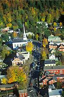 Aerial view of Stowe, VT in Autumn on Scenic Route 100 Stock Photo - Premium Royalty-Freenull, Code: 6106-05473182