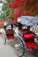 Japan, Kyoto, Arashiyama Sagano, Seiryoji temple, jinrikishas (two-wheeled carriage) Stock Photo - Premium Royalty-Freenull, Code: 6106-05482367