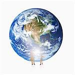 Parent and child stand in front of the earth. Stock Photo - Premium Royalty-Free, Artist: Multi-bits, Code: 6106-05492744