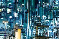 refinery - Oil refinery at night Stock Photo - Premium Royalty-Freenull, Code: 6106-05496437