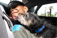 Dog licking boy (6-7 tears) sitting in car, close-up Stock Photo - Premium Royalty-Freenull, Code: 6106-05501719