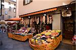 Fruit and vegetables for sale outside shop Stock Photo - Premium Royalty-Free, Artist: ableimages, Code: 6106-05503157