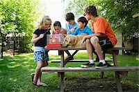 Group of children (7-13) with dog sitting on picnic table, looking at hamster in cage Stock Photo - Premium Royalty-Freenull, Code: 6106-05504847