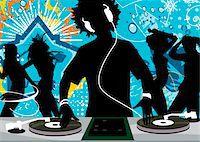 five people - Silhouette of DJ and people in nightclub Stock Photo - Premium Royalty-Freenull, Code: 6106-05509690