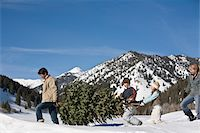 snow christmas tree white - Family with two children (8-10) carrying christmas tree in mountains Stock Photo - Premium Royalty-Freenull, Code: 6106-05511871