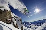 Skier in midair on snowy mountain Stock Photo - Premium Royalty-Free, Artist: Robert Harding Images, Code: 649-05522272