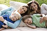 Two happy women with two children on blanket outdoors Stock Photo - Premium Rights-Managed, Artist: F1Online, Code: 853-05523416