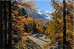 Hairpin Turn, Morteratsch Glacier, Bernina Pass, Pontresina, Maloja, Canton of Graubunden, Switzerland
