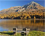 Wooden Bench on Lakeshore, Silsersee, Maloja, Engadin, Canton of Graubunden, Switzerland