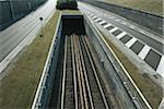 Empty road and railway tracks, elevated view Stock Photo - Premium Royalty-Freenull, Code: 6106-05529221