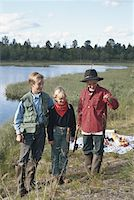 Children (6-11) with fish in fishing rod Stock Photo - Premium Royalty-Freenull, Code: 6106-05531273