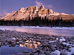 Canada, Alberta, Bow River and Castle Mountain at sunrise, winter Stock Photo - Premium Royalty-Free, Artist: J. David Andrews, Code: 6106-05539731