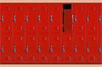 Red school lockers, one locker open (Digital Composite) Stock Photo - Premium Royalty-Freenull, Code: 6106-05541029